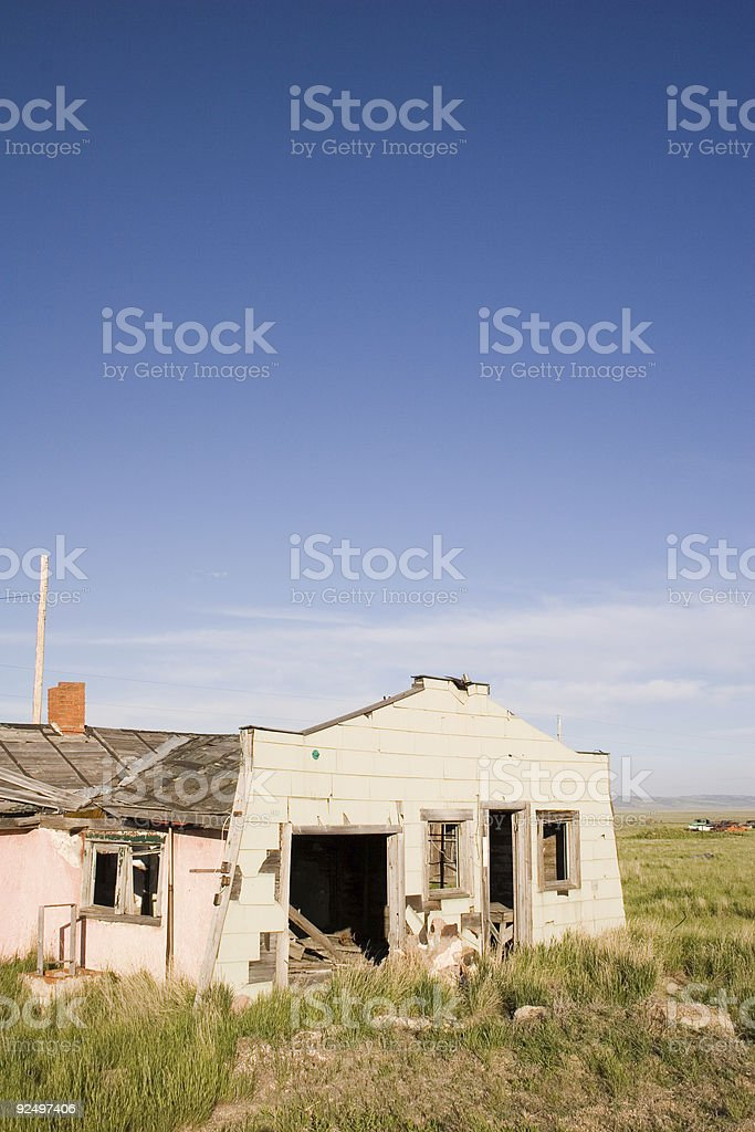 Abandoned house with pink wall (vertical) royalty-free stock photo