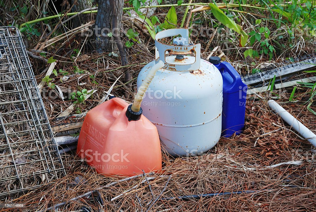 Abandoned household hazardous waste products royalty-free stock photo