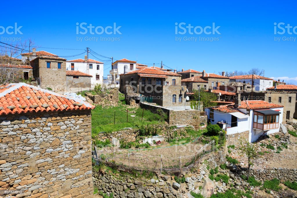 Abandoned houses and villages in Gokceada stock photo