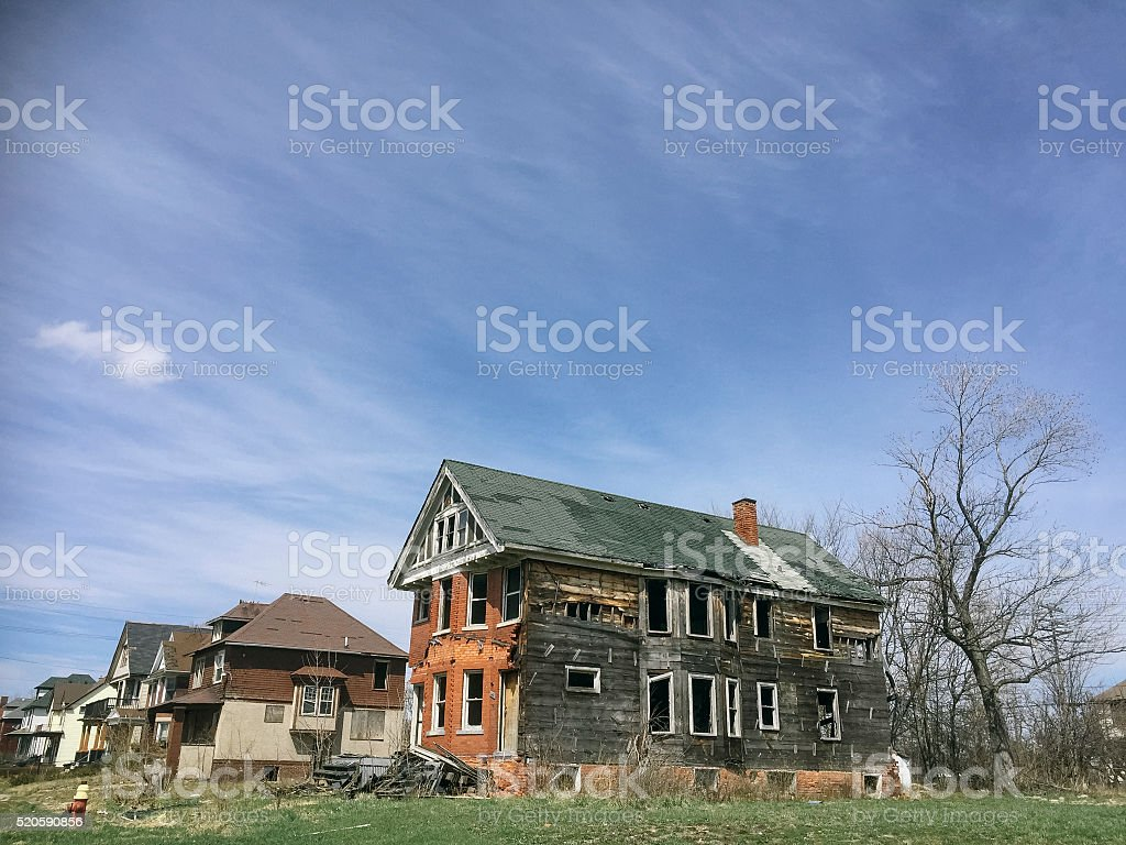 Abandoned houses in Detroit stock photo