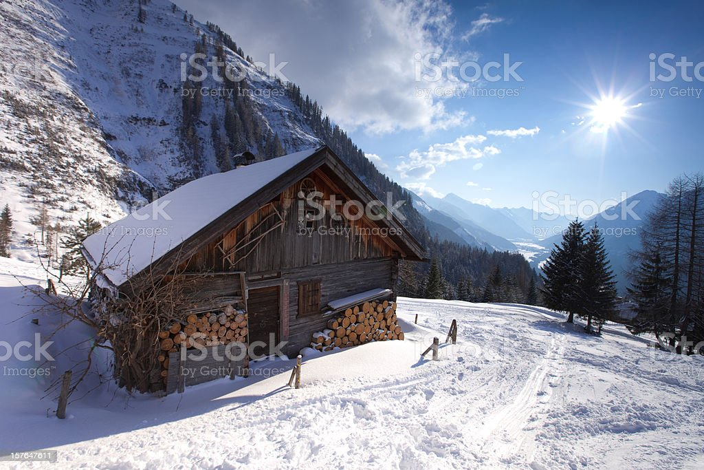 abandoned hut in tirol austria stock photo