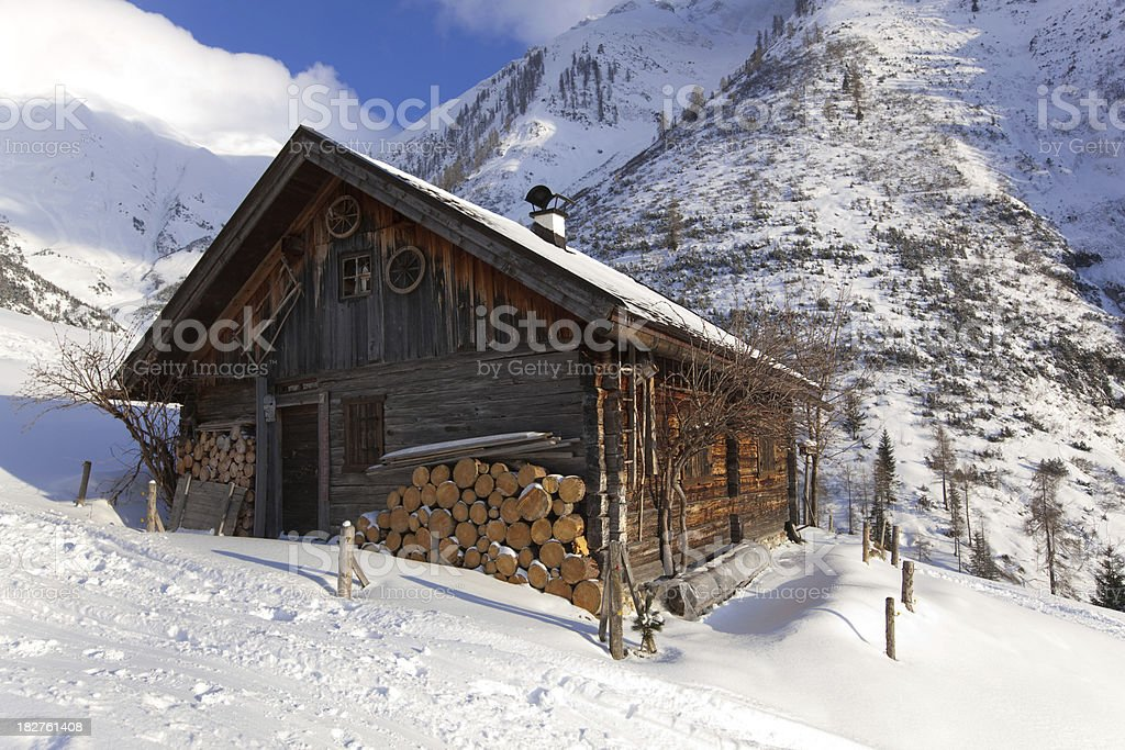 abandoned hut in tirol austria royalty-free stock photo