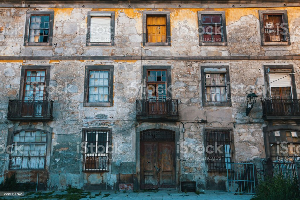 Abandoned in the old Porto downtown, Portugal. stock photo