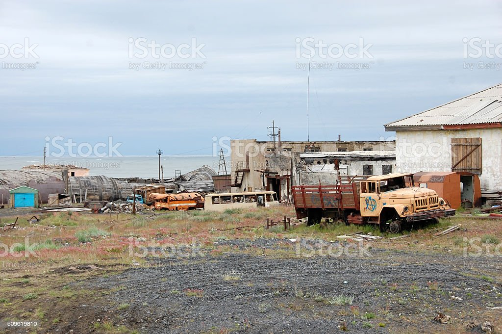 Abandoned industrial area at Arctic town Pevek stock photo