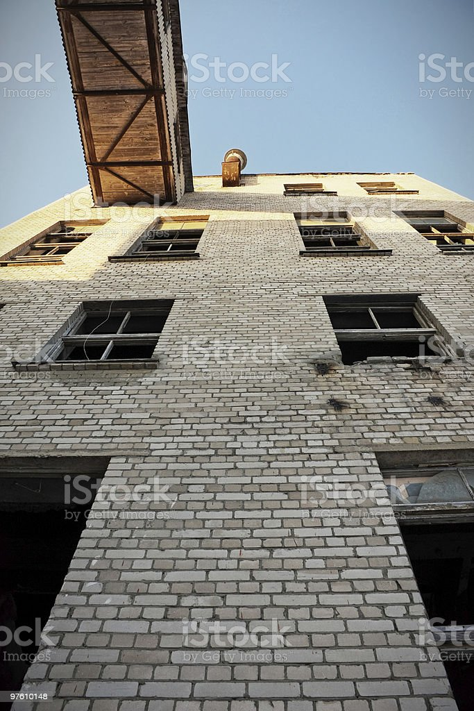 Abandoned Industrial building Exterior royalty-free stock photo