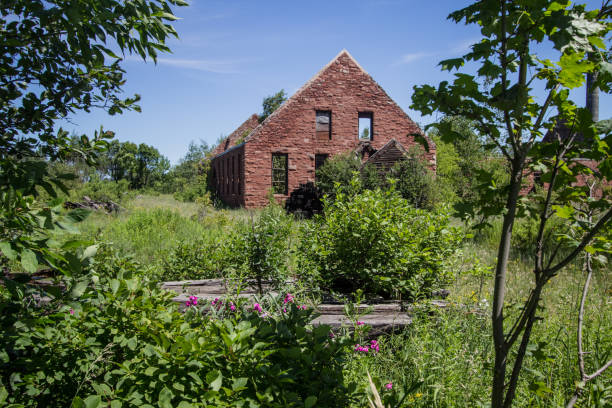 Abandoned Industrial Building In The Keweenaw National Historic Park In The Upper Peninsula Of Michigan stock photo