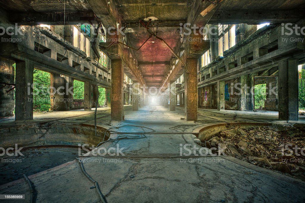Abandoned Industrial Factory, Urban Decline royalty-free stock photo