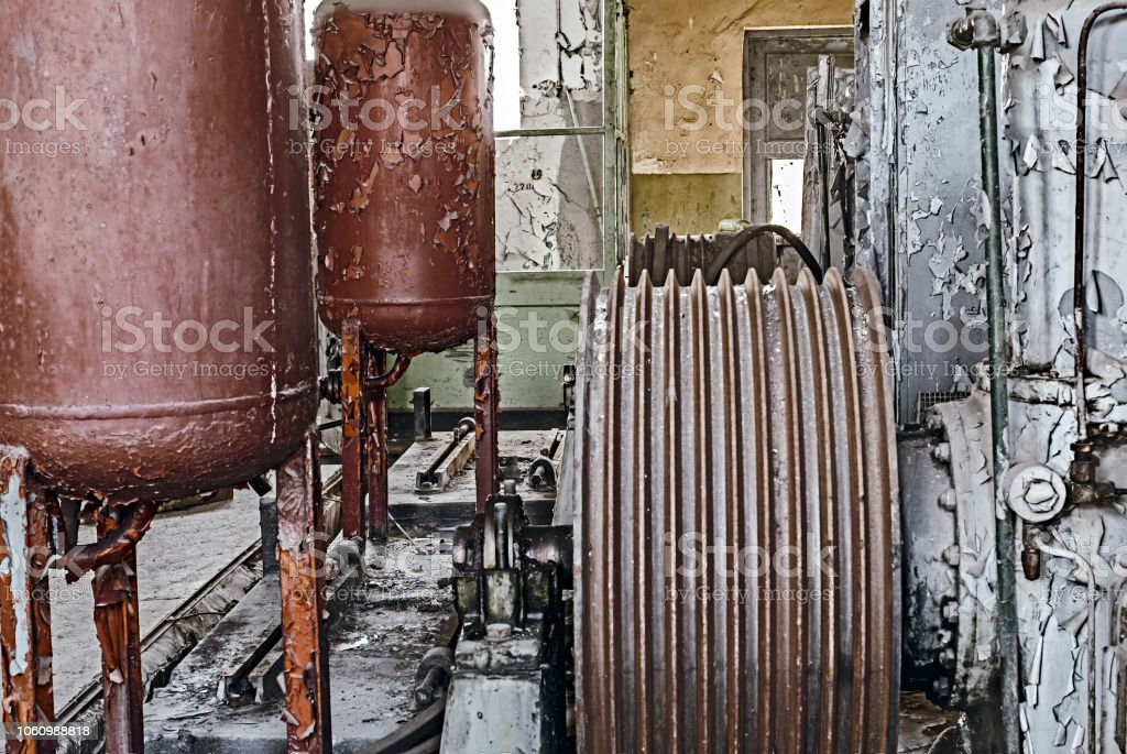 Abandoned industrial machinery stock photo