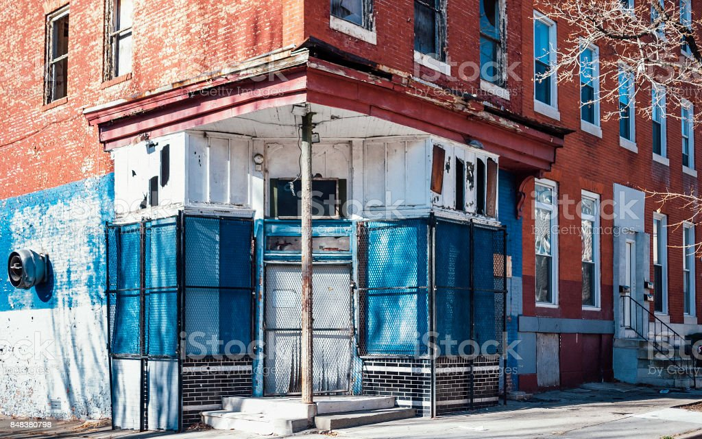 Abandoned inner city - corner store in Baltimore, MD. stock photo
