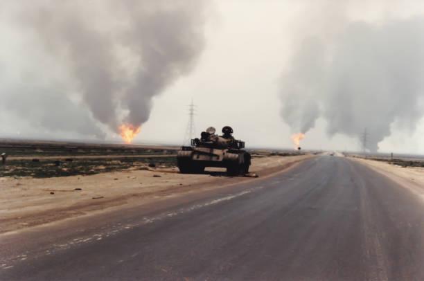 Abandoned Iraqi tank in Kuwait following Persian Gulf War stock photo