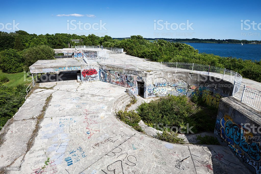 Abandoned Jamestown Fort and Grafitti stock photo