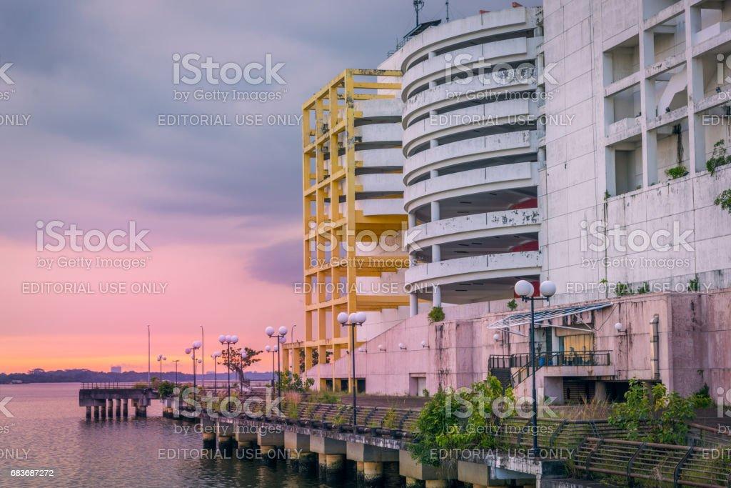 Abandoned JB Waterfront City at Sunset stock photo
