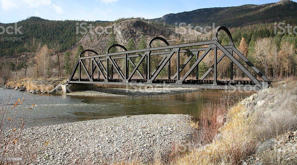 Abandoned Kettle Valley Railway Bridge over Nicola River, B.C. stock photo