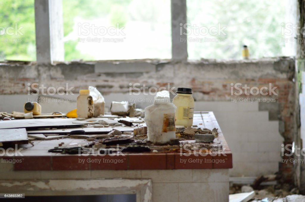 abandoned laboratory stock photo