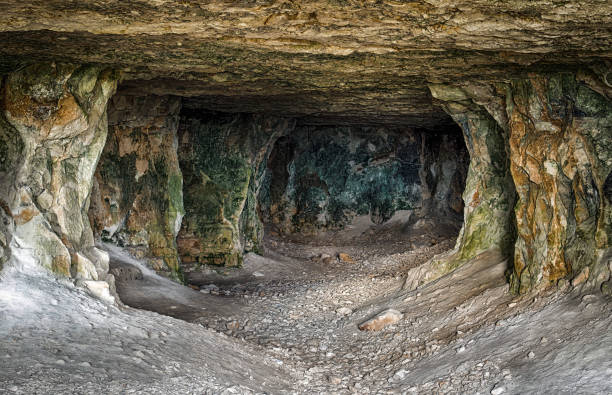 Abandoned limestone tunnels stock photo