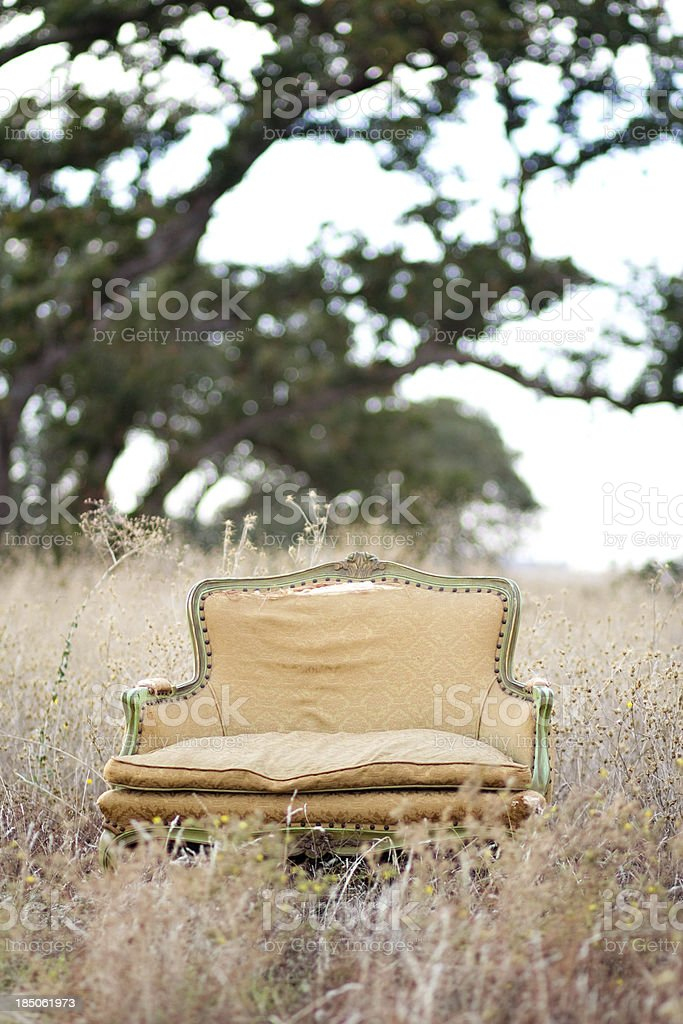 Abandoned Loveseat in Meadow royalty-free stock photo