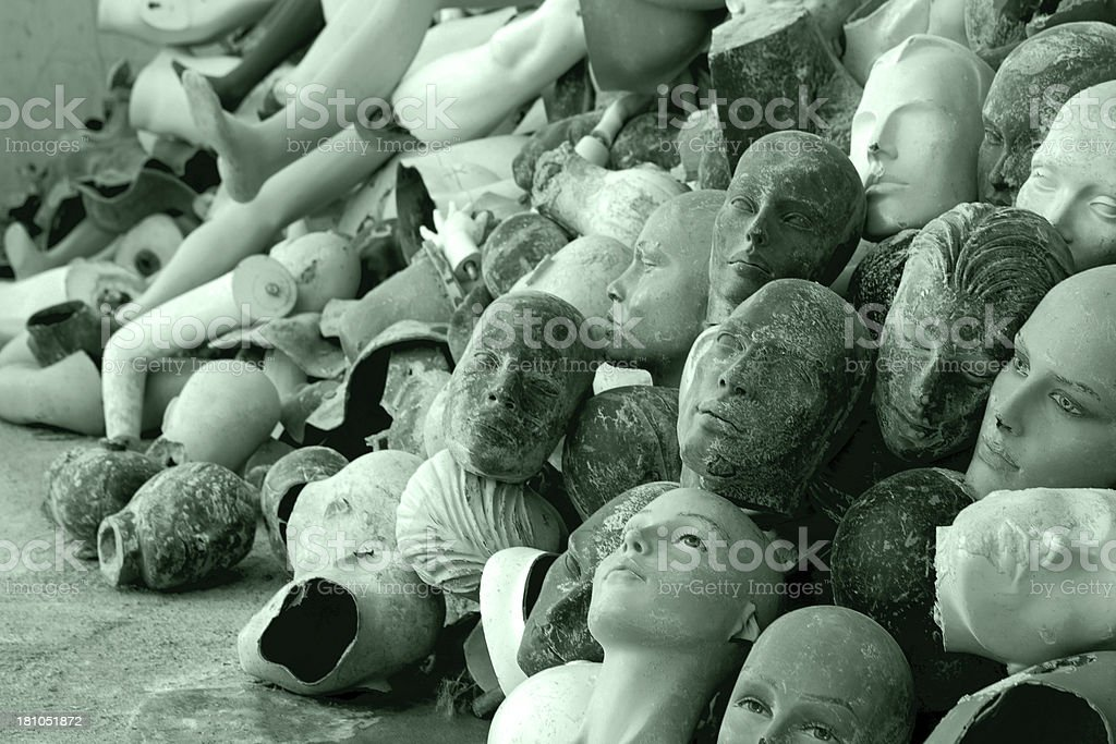 Abandoned mannequin's heads. royalty-free stock photo