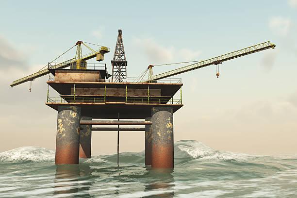 Abandoned marine oil rig stock photo