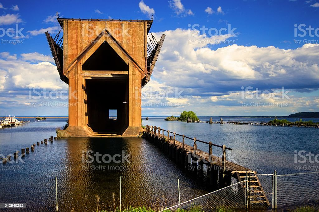 Abandoned Marquette Michigan Iron Ore Docks stock photo