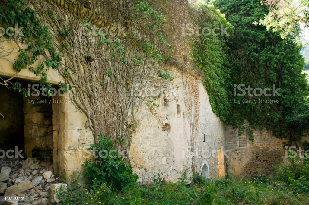 abandoned medieval church stock photo