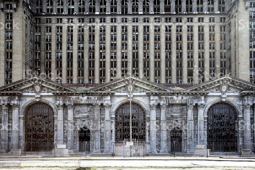 Abandoned Michigan Station, Detroit stock photo