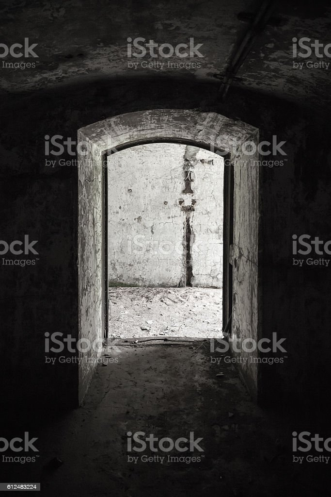 Abandoned military bunker interior stock photo