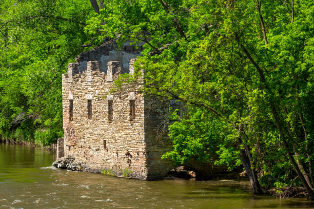 Abandoned Mill By The River stock photo