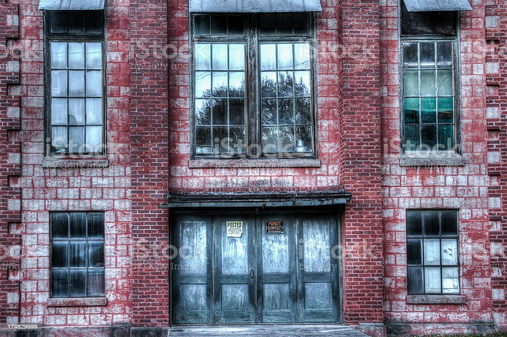 Abandoned Mill Garage Entrance, HDR stock photo