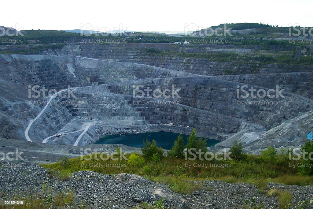 Abandoned Mine - Asbestos, Quebec, Canada stock photo