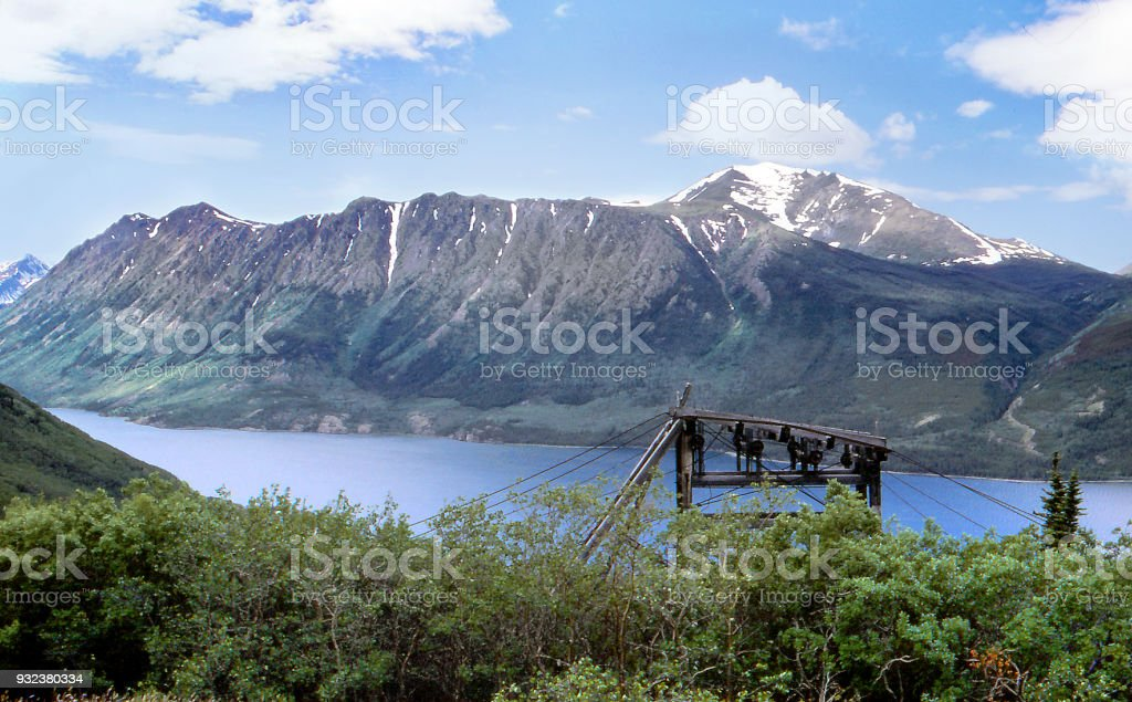 Abandoned mine cables standing near Carcross, Yukon stock photo