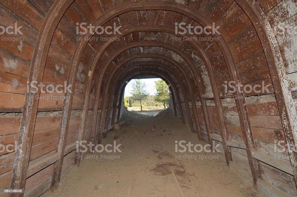 Abandoned Mine Shaft Exit Viewed From Inside Stock Photo