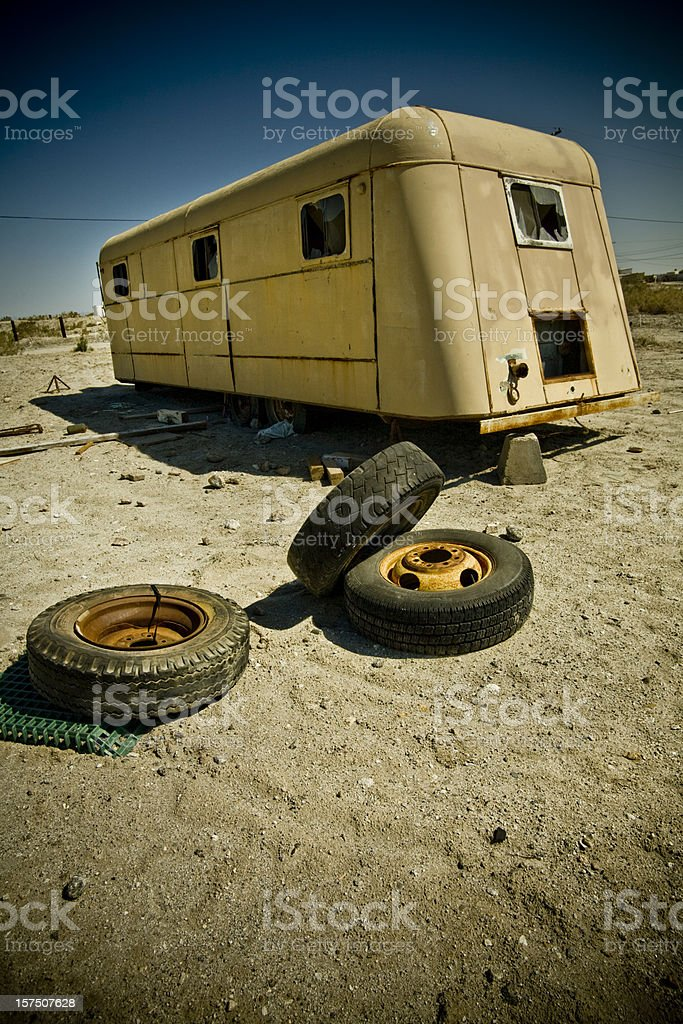 abandoned mobile home royalty-free stock photo