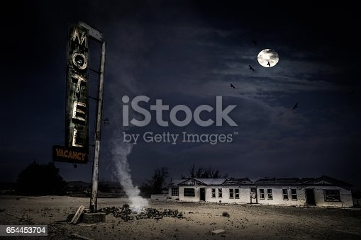 An abandoned Motel sits in the desert along Route 66.