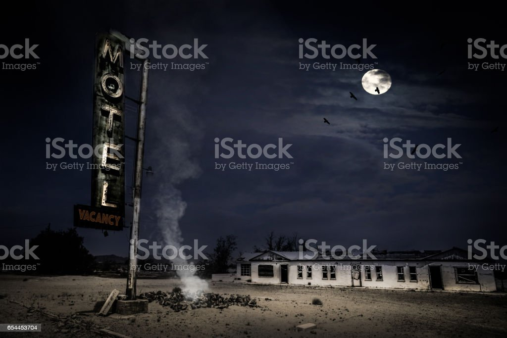 Abandoned Motel in the Desert stock photo