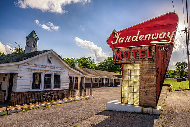 Abandoned motel on historic route 66 in Missouri stock photo