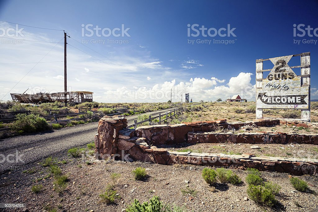 Abandoned Motel on Route 66 Sign stock photo