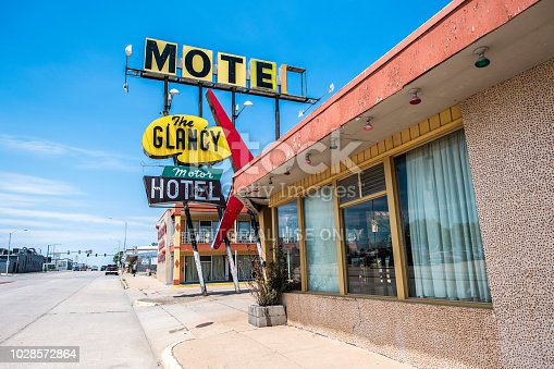 Route 66, August 1, 2018. Old motel on Rout66, between Chicago and Los Angeles