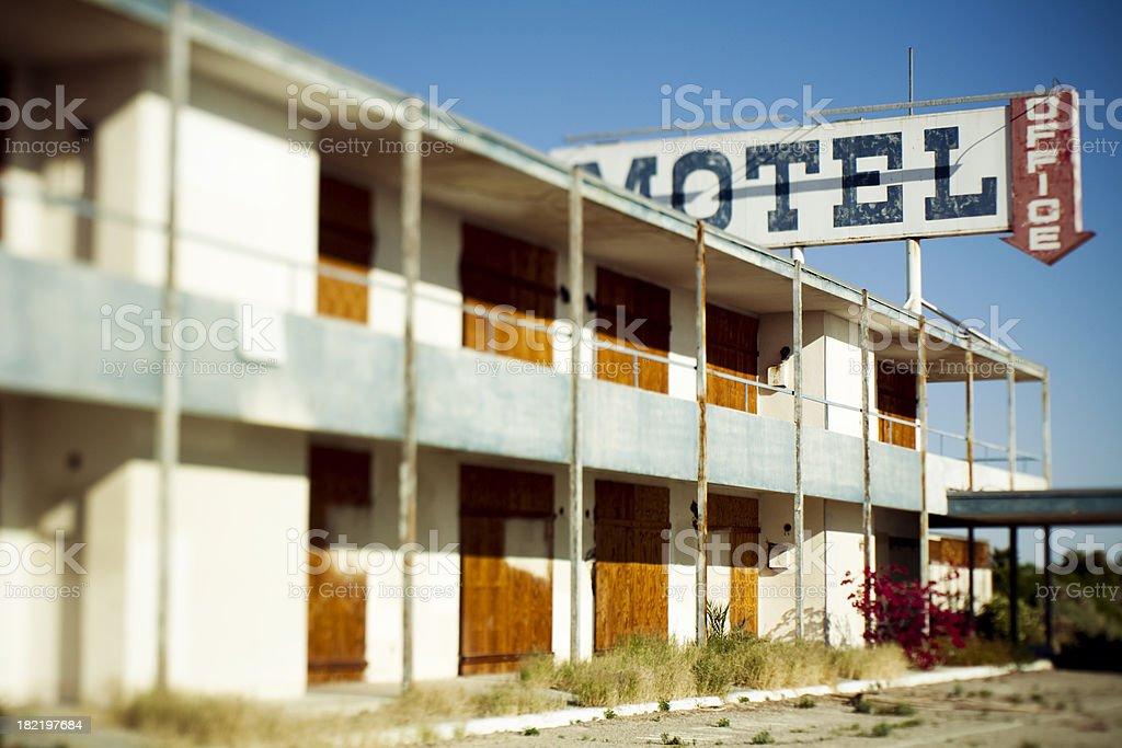 abandoned motel stock photo