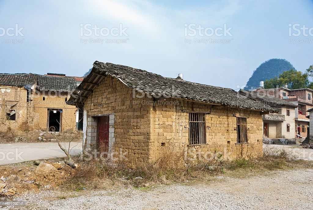 Abandoned Mud Bricks House in Village royalty-free stock photo