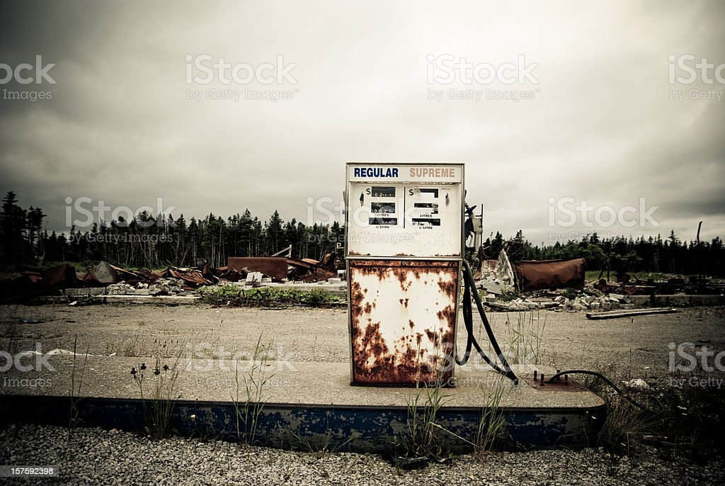 Abandoned oil station royalty-free stock photo