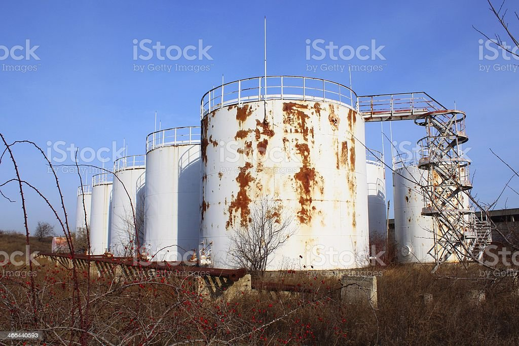Abandoned Oil Storage Tanks Park With Stairs Stock Photo