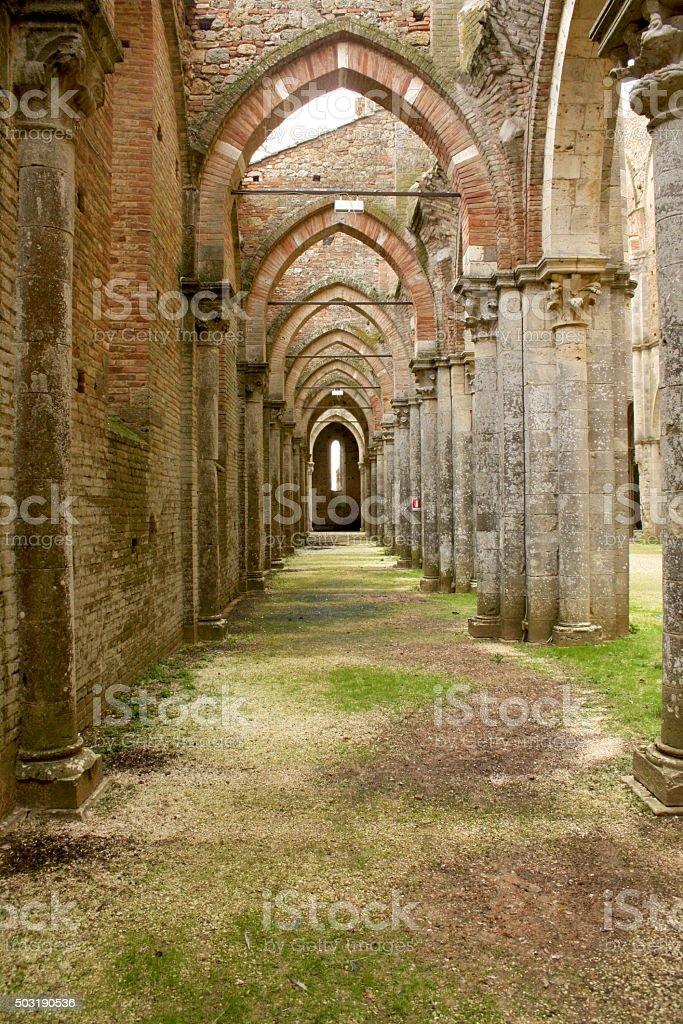 SAN GALGANO, ITALY: Abandoned Old Abbey in Tuscany stock photo