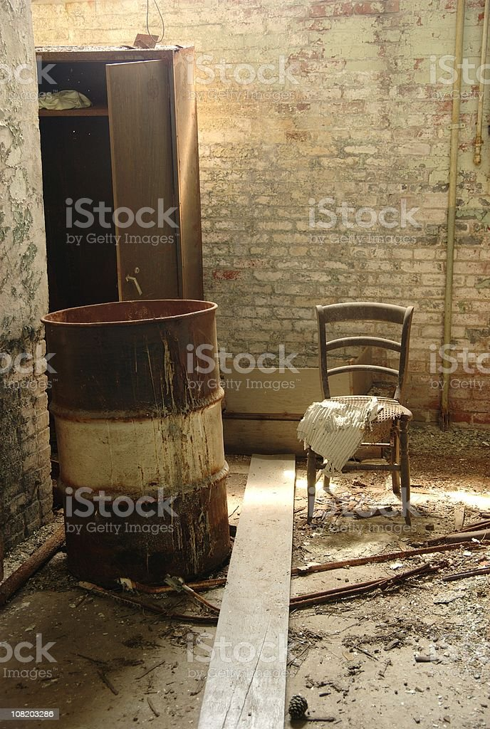 Abandoned, Old Chair and Barrel royalty-free stock photo