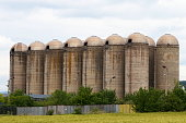 Abandoned old concrete silos near the village of Lokorsko near Sofia, Bulgaria
