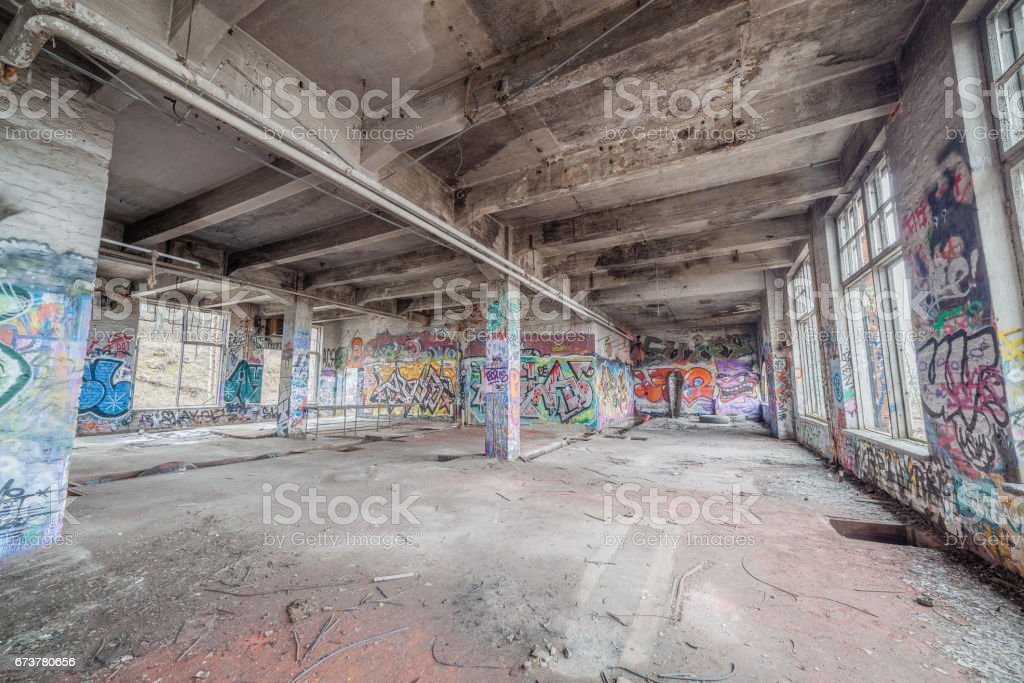 Abandoned old factory building stock photo