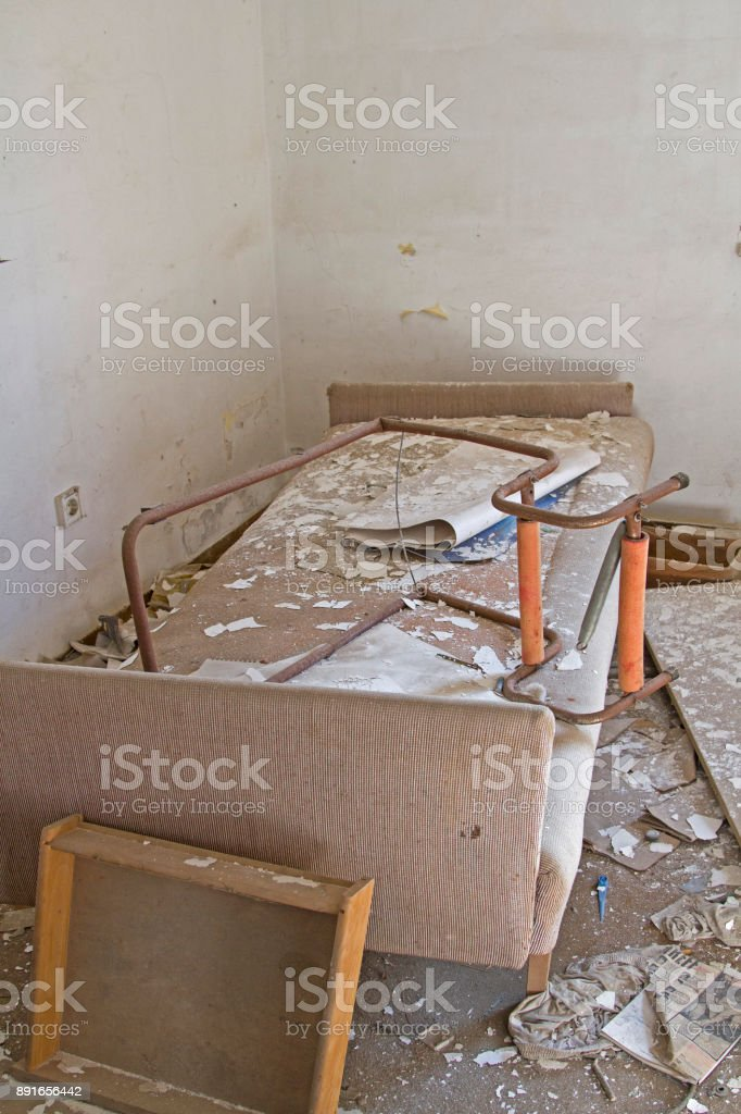 abandoned old hotel in Istria destroyed and devastated stock photo