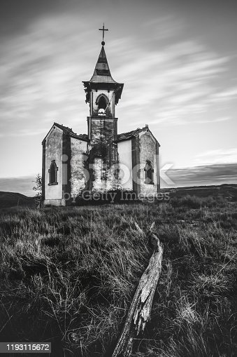 Abandoned old spooky church in Vergalijo (Navarre, Spain)