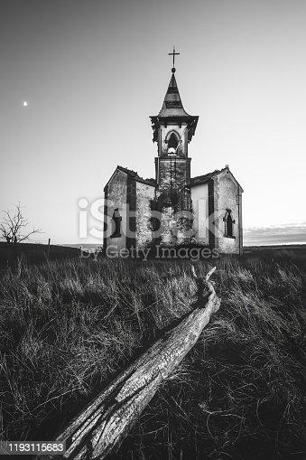 Abandoned old spooky church in Vergalijo (Navarre, Spain), monochrome version.