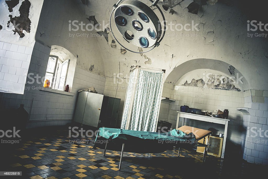 Abandoned operating room stock photo