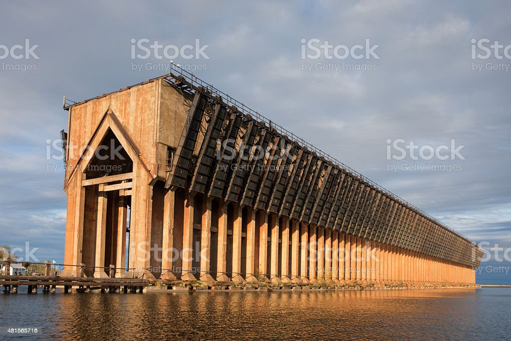 Abandoned Ore Dock on Lake Superior - Marquette Michigan stock photo